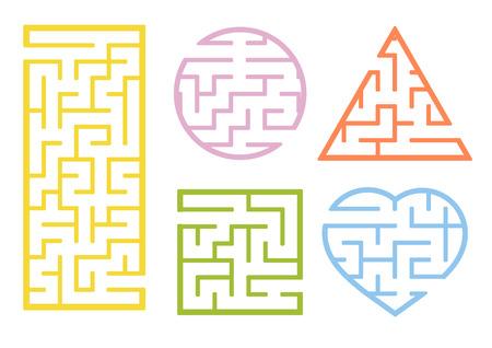 Eine Reihe von Labyrinthen. Cartoon-Stil. Visuelle Arbeitsblätter. Aktivitätsseite. Spiel für Kinder. Rätsel für Kinder. Labyrinth Rätsel. Farbvektorillustration Vektorgrafik