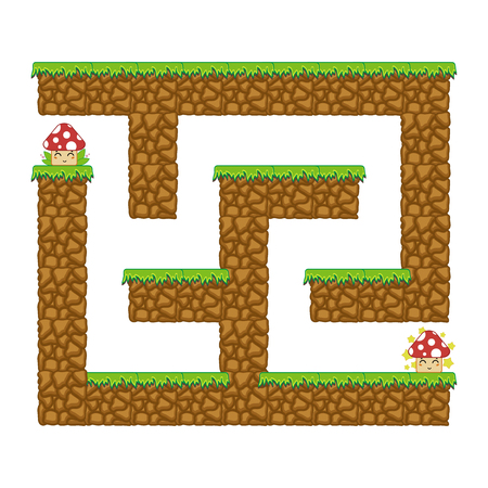 Maze dungeon. Game for kids. Puzzle for children. Cartoon style. Labyrinth conundrum. Color vector illustration. The development of logical and spatial thinking