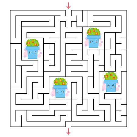 Un labirinto quadrato Raccogli tutti i vasi di fiori e trova una via d'uscita dal labirinto. Un gioco interessante per i bambini. Illustrazione vettoriale piatto semplice