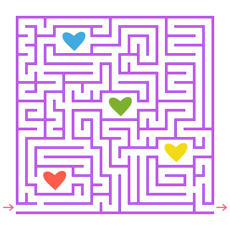 Purple square labyrinth. Collect all the colored hearts and find a way out of the maze. An interesting game for children. Simple flat vector illustration