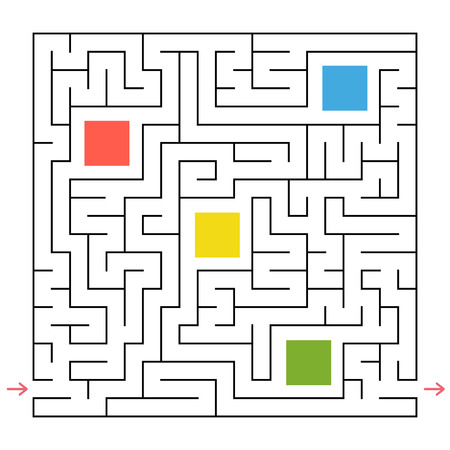 A square labyrinth. Collect all the geometric shapes and find a way out of the maze. An interesting game for children. Simple flat vector illustration
