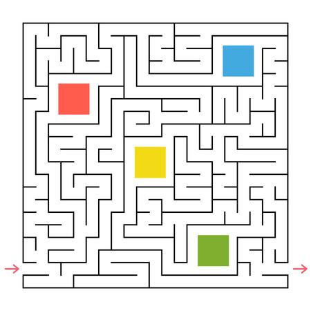 Ein quadratisches Labyrinth. Sammle alle geometrischen Formen und finde einen Weg aus dem Labyrinth. Ein interessantes Spiel für Kinder. Einfache flache Vektorillustration