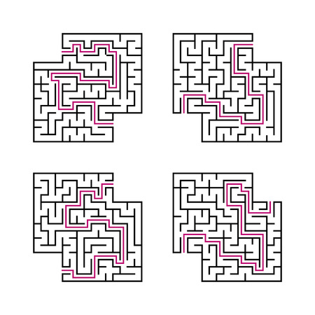 A set of black square mazes for children. Simple flat vector illustration isolated on white background. With the answer. With a place for your images