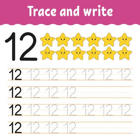 Trazar y escribir. Práctica de escritura a mano. Aprendizaje de números para niños. Hoja de trabajo de desarrollo de educación. Página de actividad. Juego para niños pequeños y preescolares. Ilustración de vector aislado en estilo de dibujos animados lindo
