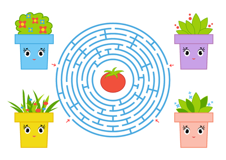 Round maze with cartoon characters. Cute flower pot. An interesting and developing game for children. Simple flat isolated vector illustration.