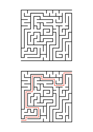 A square maze for children. Simple flat vector illustration isolated on white background. With the answer