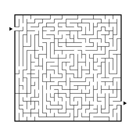 Gran laberinto difícil. Juego para niños y adultos. Puzzle para niños. Enigma del laberinto. Encuentra el camino correcto. Ilustración vectorial plana