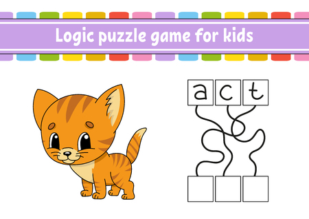 Logic puzzle game. Learning words for kids. Find the hidden name. Education developing worksheet. Activity page for study English. Game for children. Isolated vector illustration. Cartoon style Illustration