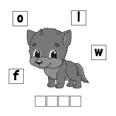 Words puzzle. Education developing worksheet. Learning game for kids. Activity page. Puzzle for children. Riddle for preschool. Simple flat isolated vector illustration in cute cartoon style