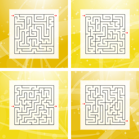 A set of square labyrinths. An interesting and useful game for children and adults. Simple flat vector illustration on a colorful abstract background
