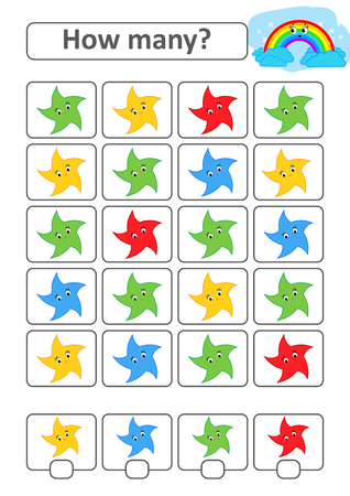 Counting game for preschool children for the development of mathematical abilities. How many stars of different colors. With a place for answers. Simple flat isolated vector illustration