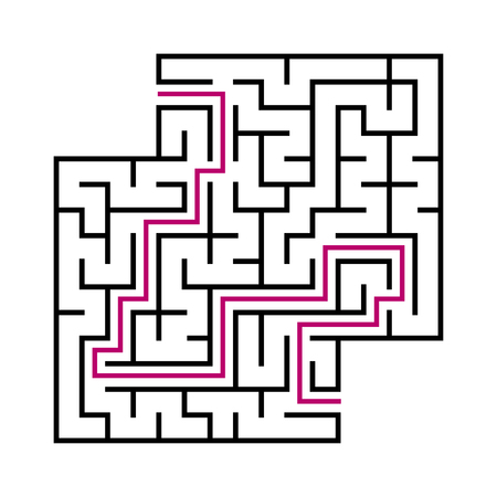 Black square maze for children. Simple flat vector illustration isolated on white background. With the answer. With a place for your images
