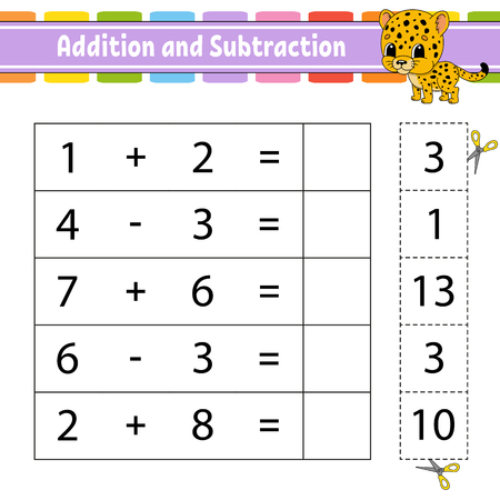 Addition and subtraction. Task for kids. Education developing worksheet. Activity page. Game for children. Funny character. Isolated vector illustration. Cartoon style