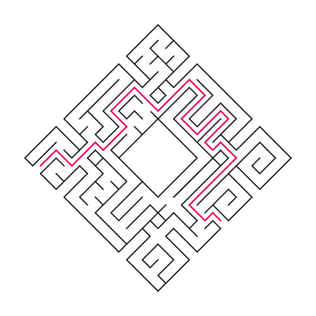 Abstract complex labyrinth. Black stroke on a white background. An interesting puzzle game for children. Vector illustration. With the right way