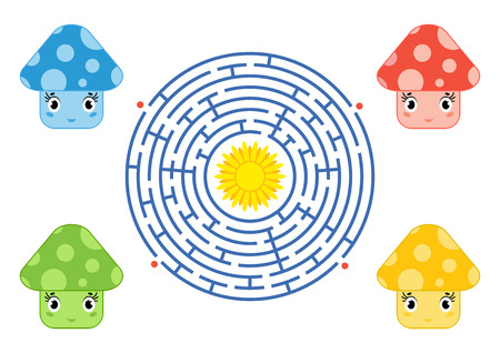 Round maze with cartoon characters. Cute mushrooms. An interesting and developing game for children. Simple flat isolated vector illustration.