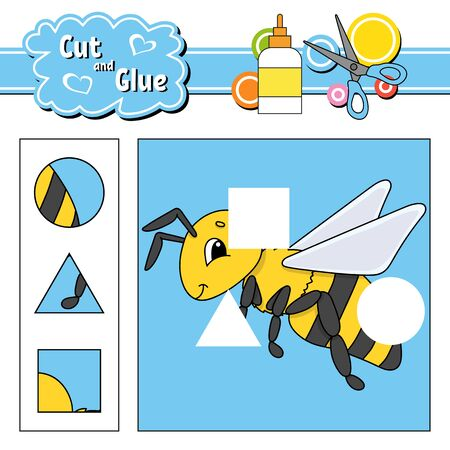 Cut and glue. Education developing worksheet. Activity page. Game for children. Isolated vector illustration in cute cartoon style.