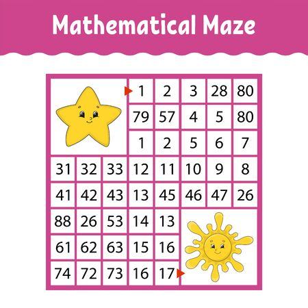 Mathematical colored square maze. Education developing worksheet. Game for kids. Puzzle for children. The study of numbers. Labyrinth conundrum. Flat vector illustration isolated on white background