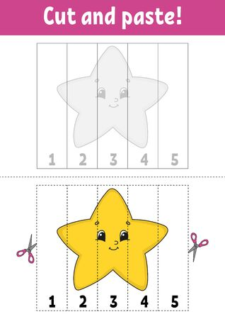 Learning numbers. Cut and play. Education developing worksheet. Game for kids. Activity page. Puzzle for children. Riddle for preschool. Flat isolated vector illustration. Cute cartoon style.