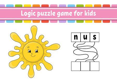 Juego de rompecabezas de lógica. Aprendiendo palabras para niños. Encuentra el nombre oculto. Hoja de trabajo de desarrollo de educación. Página de actividades para estudiar inglés. Juego para niños. Ilustración de vector aislado. Estilo de dibujos animados.