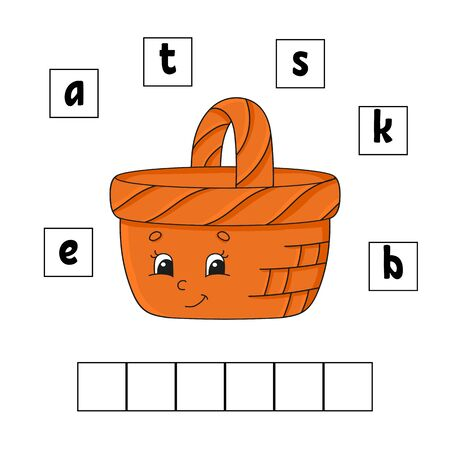 Words puzzle. Education developing worksheet. Learning game for kids. Activity page. Puzzle for children. Riddle for preschool. Simple flat isolated vector illustration in cute cartoon style.