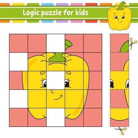 Rompecabezas de lógica para niños. Hoja de trabajo de desarrollo de educación. Juego de aprendizaje para niños. Página de actividad. Para niños pequeños. Acertijo para preescolar. Ilustración de vector aislado plano simple en estilo de dibujos animados lindo.