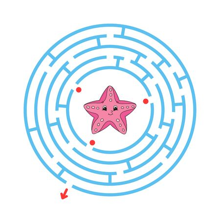 Maze. Game for kids. Funny labyrinth. Education developing worksheet. Activity page. Puzzle for children. Cute cartoon style. Riddle for preschool. Logical conundrum. Color vector illustration. Reklamní fotografie - 126726787