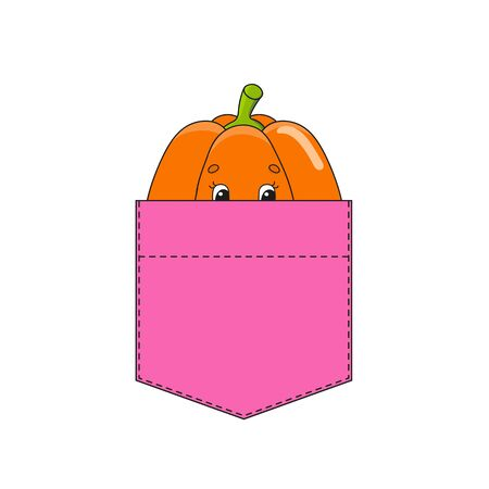 Pumpkin in shirt pocket. Cute character. Colorful vector illustration. Cartoon style. Isolated on white background. Design element. Template for your shirts, books, stickers, cards, posters.