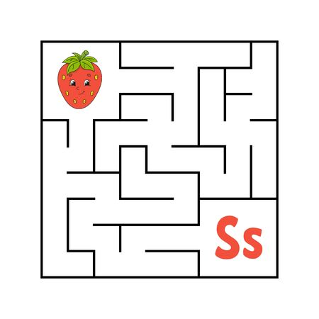 Maze. Game for kids. Funny labyrinth. Education developing worksheet. Activity page. Puzzle for children. Cute cartoon style. Riddle for preschool. Logical conundrum. Color vector illustration. Reklamní fotografie - 126726798