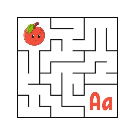 Maze. Game for kids. Funny labyrinth. Education developing worksheet. Activity page. Puzzle for children. Cute cartoon style. Riddle for preschool. Logical conundrum. Color vector illustration.