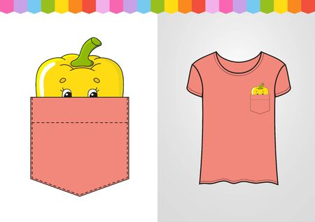 Pepper in shirt pocket. Cute character. Colorful vector illustration. Cartoon style. Isolated on white background. Design element. Template for your shirts, books, stickers, cards, posters. Ilustrace