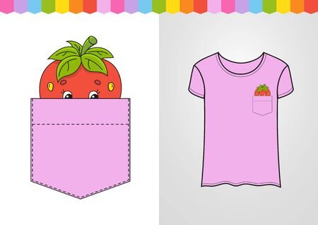 Strawberry in shirt pocket. Cute character. Colorful vector illustration. Cartoon style. Isolated on white background. Design element. Template for your shirts, books, stickers, cards, posters.