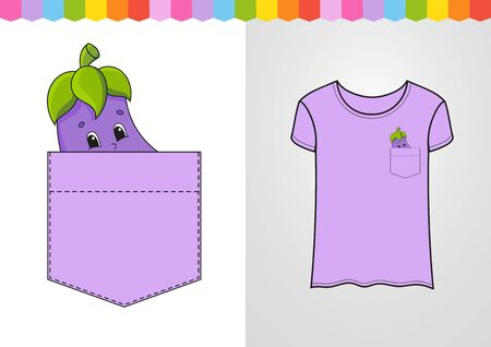 Eggplant in shirt pocket. Cute character. Colorful vector illustration. Cartoon style. Isolated on white background. Design element. Template for your shirts, books, stickers, cards, posters.