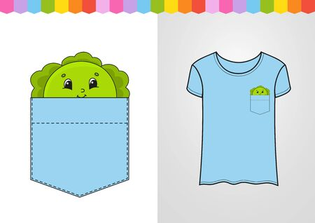 Cabbage in shirt pocket. Cute character. Colorful vector illustration. Cartoon style. Isolated on white background. Design element. Template for your shirts, books, stickers, cards, posters. Ilustrace