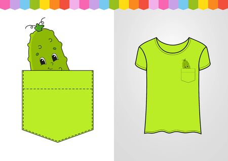 Cucumber in shirt pocket. Cute character. Colorful vector illustration. Cartoon style. Isolated on white background. Design element. Template for your shirts. Ilustrace