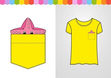 Starfish in shirt pocket. Cute character. Colorful vector illustration. Cartoon style. Isolated on white background. Design element. Template for your shirts. Ilustrace