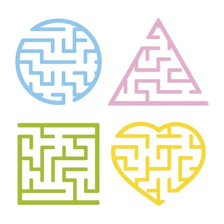 Un ensemble de labyrinthes. Jeu pour les enfants. Casse-tête pour les enfants. L'énigme du labyrinthe. Trouvez le bon chemin. Illustration vectorielle. Vecteurs