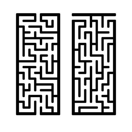 Un ensemble de labyrinthes. Jeu pour les enfants. Casse-tête pour les enfants. L'énigme du labyrinthe. Trouvez le bon chemin. Illustration vectorielle.
