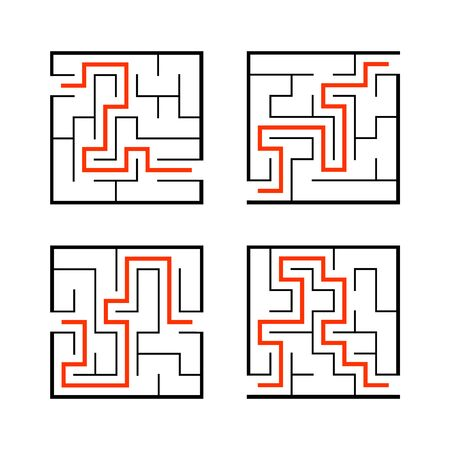 A set of mazes. Game for kids. Puzzle for children. Labyrinth conundrum. Find the right path. Vector illustration. Ilustrace