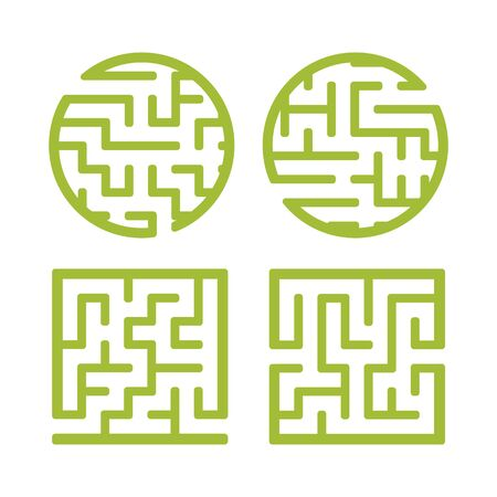 A set of mazes. Game for kids. Puzzle for children. Labyrinth conundrum. Find the right path. Vector illustration. Reklamní fotografie - 126726877