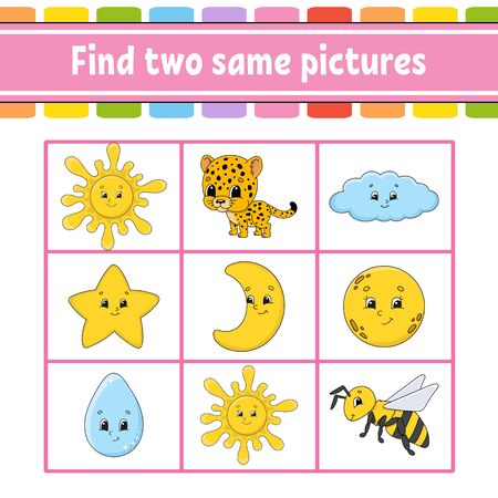 Find two same pictures. Task for kids. Education developing worksheet. Activity page. Game for children. Funny character. Isolated vector illustration. Cartoon style.