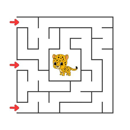 Funny square maze. Game for kids. Puzzle for children. Cartoon style. Labyrinth conundrum. Color vector illustration. Find the right path. The development of logical and spatial thinking. Ilustração