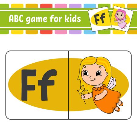 ABC flash cards. Alphabet for kids. Learning letters. Education developing worksheet. Activity page for study English. Game for children. Funny character. Isolated vector illustration. Cartoon style.