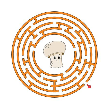 Funny circle maze. Game for kids. Puzzle for children. Cartoon style. Round labyrinth conundrum. Color vector illustration. Find the right path. The development of logical and spatial thinking. Illustration