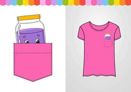 Jar of jam in shirt pocket. Cute character. Colorful vector illustration. Cartoon style. Isolated on white background. Design element. Template for your shirts, books, stickers, cards, posters. Banque d'images - 129277310