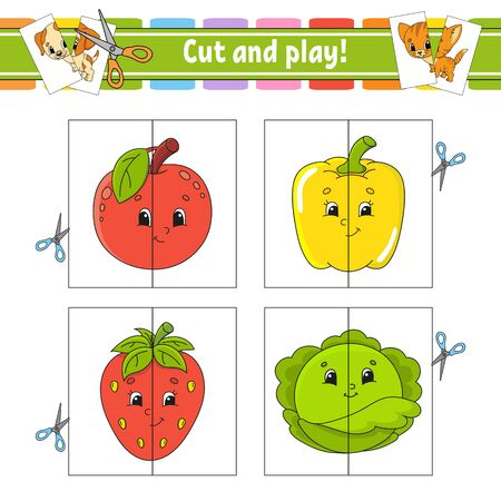 Cut and play. Flash cards. Color puzzle. Education developing worksheet. Activity page. Game for children. Funny character. Isolated vector illustration. Cartoon style. Illustration