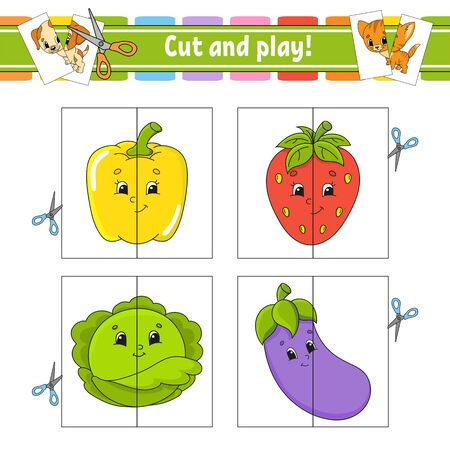 Cut and play. Flash cards. Color puzzle. Education developing worksheet. Activity page. Game for children. Funny character. Isolated vector illustration. Cartoon style. Ilustrace