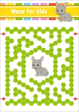 Maze. Game for kids. Funny labyrinth. Education developing worksheet. Activity page. Puzzle for children. Riddle for preschool. Cute cartoon style. Logical conundrum. Color vector illustration.