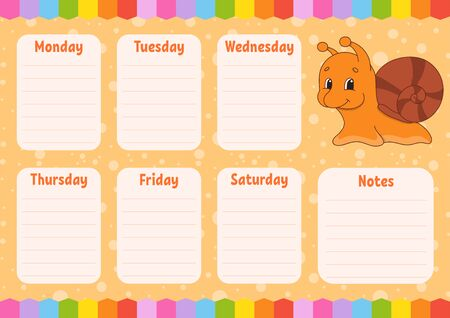 School schedule. Timetable for kids. Empty template. Weekly planer with notes. Isolated color vector illustration. Funny character. Cartoon style.
