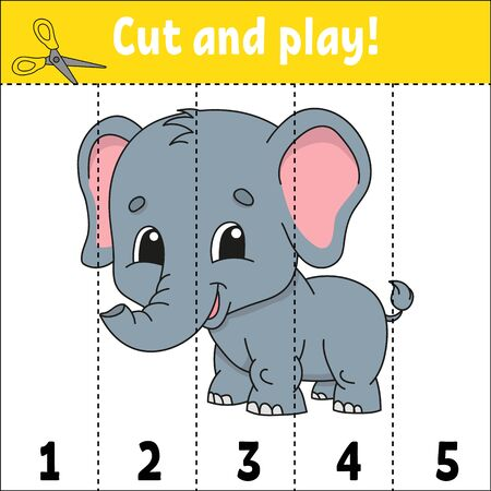 Learning numbers. Cut and play. Education developing worksheet. Game for kids. Activity page. Puzzle for children. Riddle for preschool. Flat isolated vector illustration. Cute cartoon style. Stockfoto - 130740154