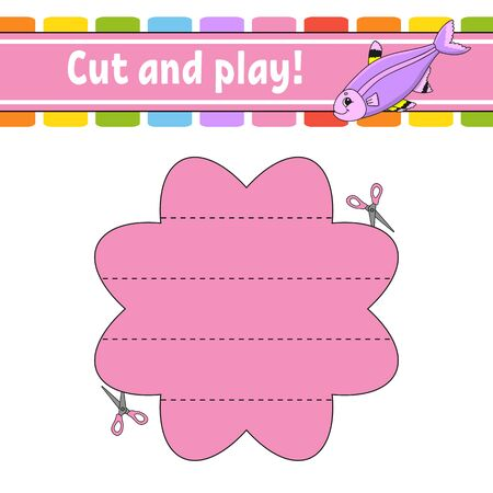 Cut and play. Logic puzzle for kids. Education developing worksheet. Learning game. Activity page. Cutting practice for preschool. Simple flat isolated vector illustration in cute cartoon style. Foto de archivo - 134557374